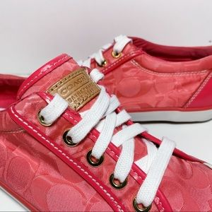 Coach Shoes - Coach Monogram Pink Print Leather Barrett Sneakers